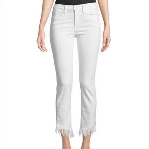 NWT FRAME Le High Skinny Jeans w/ Shredded Raw Hem